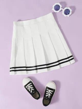 KIDS Striped Pleated Skirt