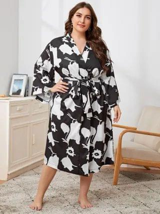 WOMEN Plus Floral Print Belted Robe