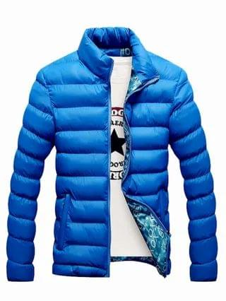 MEN Funnel Neck Slant Pocket Puffer Jacket