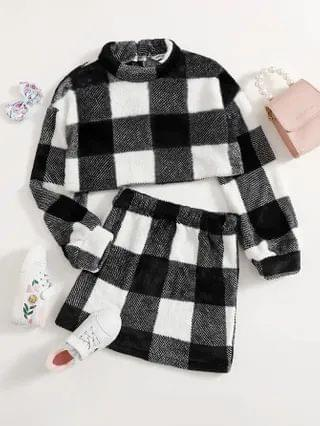 KIDS Stand Collar Buffalo Plaid Teddy Sweatshirt & Skirt Set