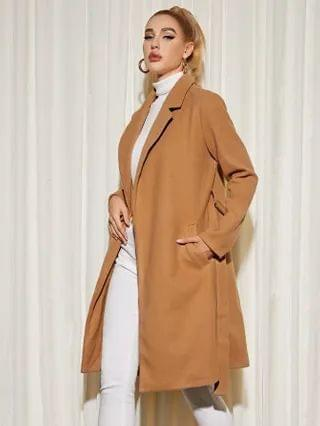 WOMEN Notched Collar Wool-Mix Belted Overcoat