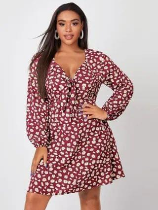 WOMEN Plus Sweetheart Neck Allover Floral Dress