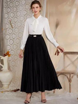 WOMEN Belted Maxi Pleated Skirt