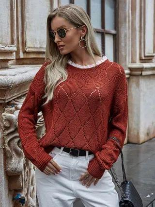 WOMEN Open Knit Contrast Lace Drop Shoulder Sweater