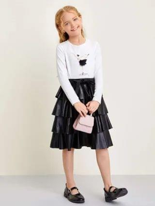 KIDS Mesh Detail Figure Graphic Tee and PU Leather Layered Skirt Set