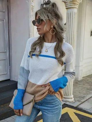 WOMEN Colorblock Drop Sleeve Sweater