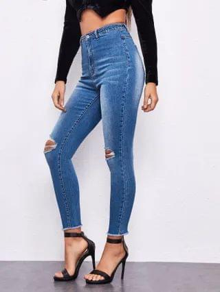 WOMEN High Waisted High Stretch Ripped Beaded Skinny Jeans