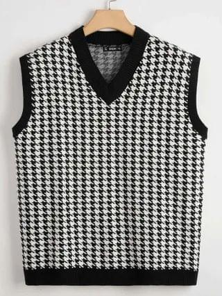WOMEN Plus Houndstooth Knit Top