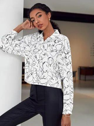 WOMEN Single Breasted Allover Print Blouse