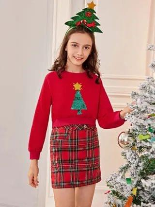 KIDS Christmas Tree Sequin Detail Pullover