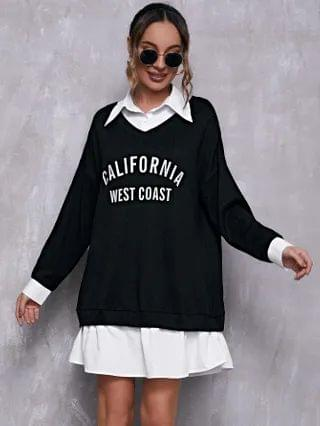 WOMEN Collared Letter Graphic 2 in 1 Sweatshirt Dress