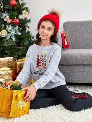 KIDS Christmas Tree and Letter Graphic Drop Shoulder Pullover