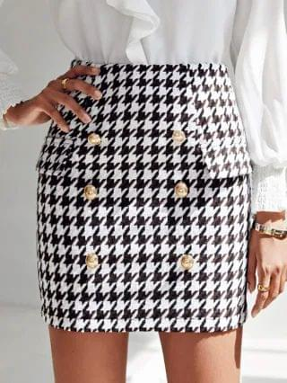 WOMEN Buttoned Front Flap Detail Houndstooth Tweed Skirt