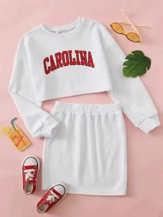 KIDS Letter Graphic Drop Shoulder Pullover & Skirt Set