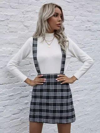 WOMEN Plaid Print Zip Back Overall Skirt