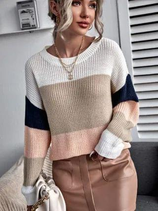 WOMEN Drop Shoulder Colorblock Sweater