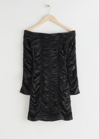 WOMEN Fitted Gathered Off Shoulder Mini Dress