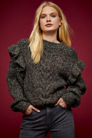 WOMEN IDOL Charcoal Gray Frill Sleeve Cable Knitted Sweater