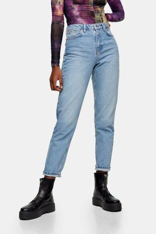 WOMEN Bleach Hands Detail Mom Tapered Jeans