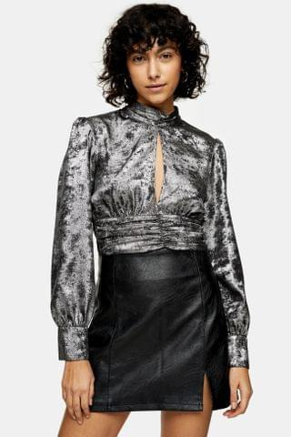 WOMEN Silver High Neck Keyhole Ruched Blouse