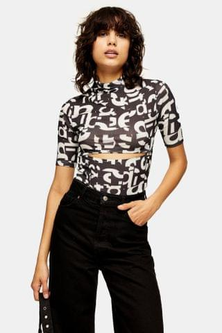 WOMEN Black and White Letters Mesh Top