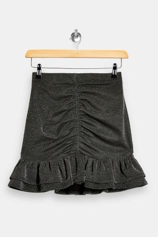 WOMEN Silver Ponte Ruched Mini Skirt