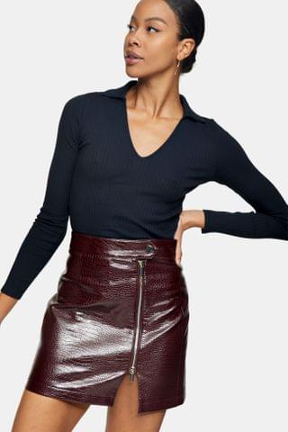 WOMEN Burgundy Crocodile Zip Mini Skirt