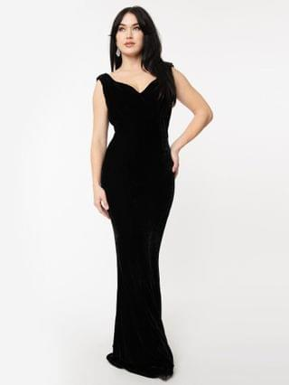 WOMEN Unique Vintage 1930s Style Black Velvet Goldwyn Gown