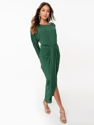 WOMEN Retro Style Hunter Green Fitted Tulip Dress