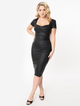 WOMEN Unique Vintage 1960s Style Black Vegan Leather Robbie Wiggle Dress