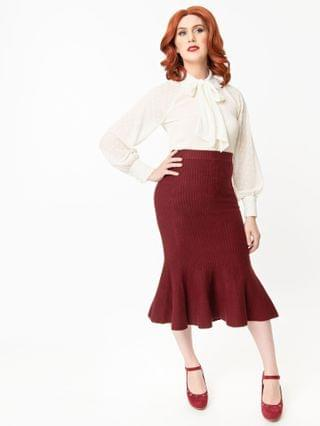 WOMEN Retro Style Burgundy Sweater Trumpet Skirt