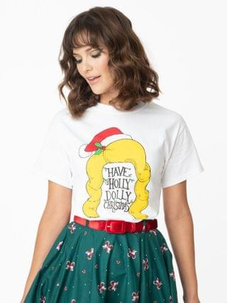 WOMEN Unique Vintage Have A Holly Dolly Christmas Unisex Tee