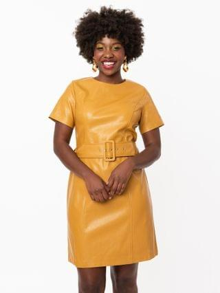 WOMEN 1960s Style Mustard Vegan Leather Dress