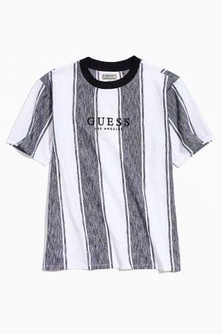 MEN GUESS Zen Stripe Embroidered Text Tee
