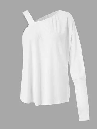 WOMEN Ribbed Knit One Shoulder Long Sleeves Knit Top