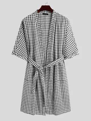 WOMEN INCERUN Men Kimono Style Plaid Print Cotton Knotted Sleepwear Night Gown Robe