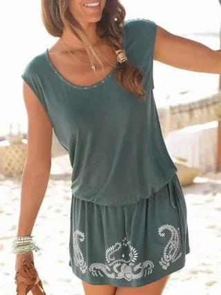 WOMEN Casual Tribal Cut out Tie-up Round neck Short sleeves Dress