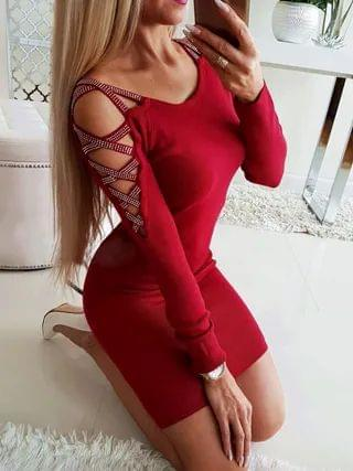 WOMEN Criss-cross Hollow Design With Rhinestone Cold Shoulder Long Sleeves Dress