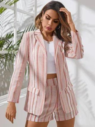 WOMEN YOINS Pink Striped Lapel Collar Long Sleeves Two Piece Outfit