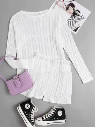 WOMEN Casual Knit Crew Neck Long Sleeves Two Piece Outfit