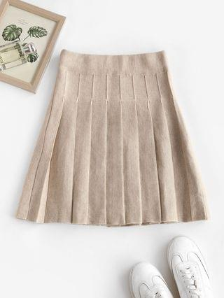 WOMEN High Waisted Knitted Pleated Skirt - Warm White