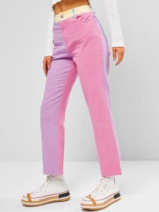 WOMEN Colorblock Pocket High Waisted Straight Pants - Multi S