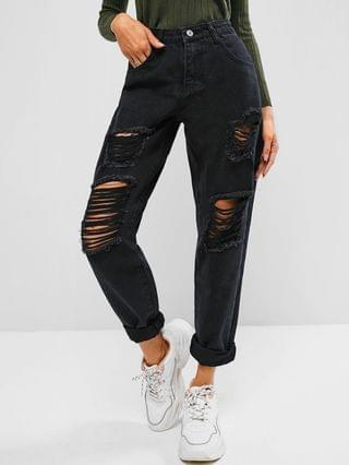 WOMEN Ripped High Waisted Stovepipe Jeans - Black M