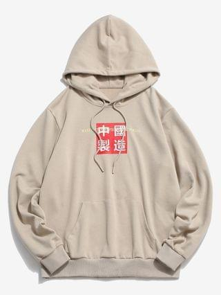 MEN Made In China Letter Graphic Hoodie - Light Coffee L