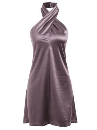 WOMEN Satin Criss Cross Halter Party Dress - Concord S