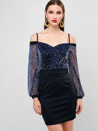 WOMEN Sparkly Star Moon Cold Shoulder Bodycon Party Dress - Black L