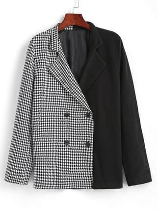 WOMEN Houndstooth Two Tone Double Breasted Blazer - Black Xl