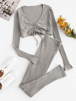 WOMEN Wide Rib Cinched Plunge Two Piece Pants Set - Light Gray L