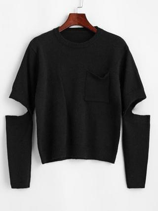 WOMEN Crewneck Front Pocket Sweater With Detachable Sleeves - Black