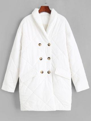 WOMEN Flap Detail Double Breasted Puffer Coat - White S